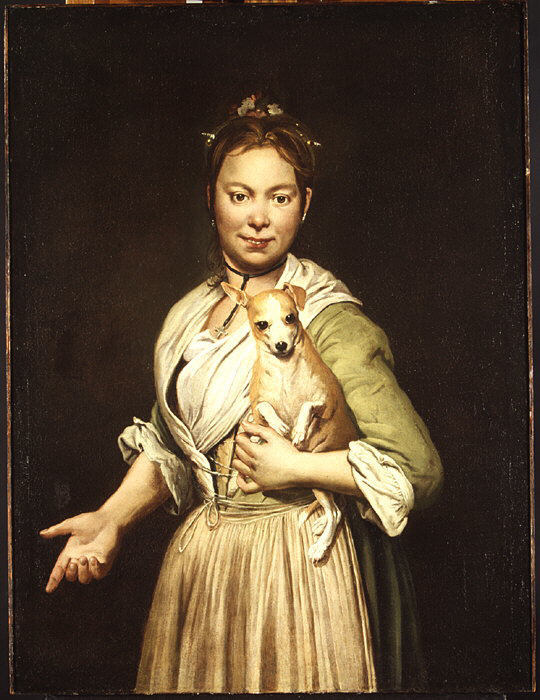 A Woman with a Dog , 1740s, Giacomo Ceruti