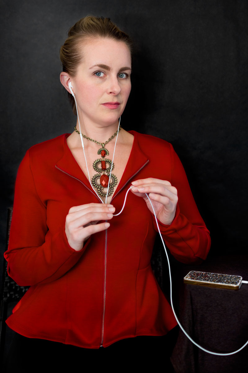 Portrait of a Woman Streaming Music , 2014