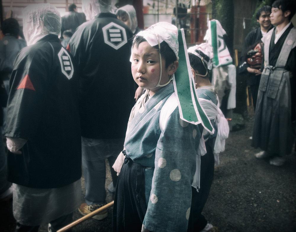 """""""Sasara"""" boy in the Aofushigaki Ritual."""