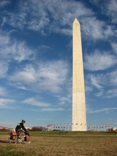 Aaron bikes by the Washington Monument