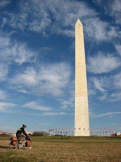 Aaron bikes by the Washington Monument