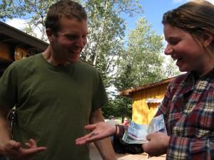 "Matt and Alyssum enjoy spending our Canadian ""monopoly"" money."