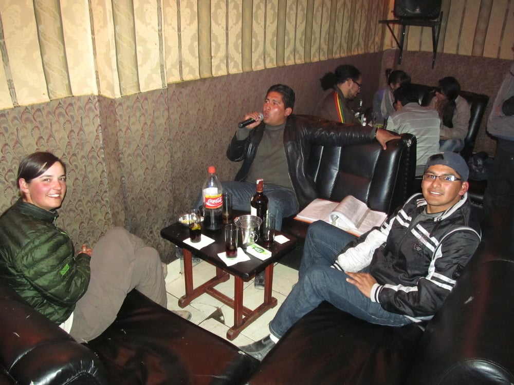 Karaoke in Oruro with Ramiro and Miki.