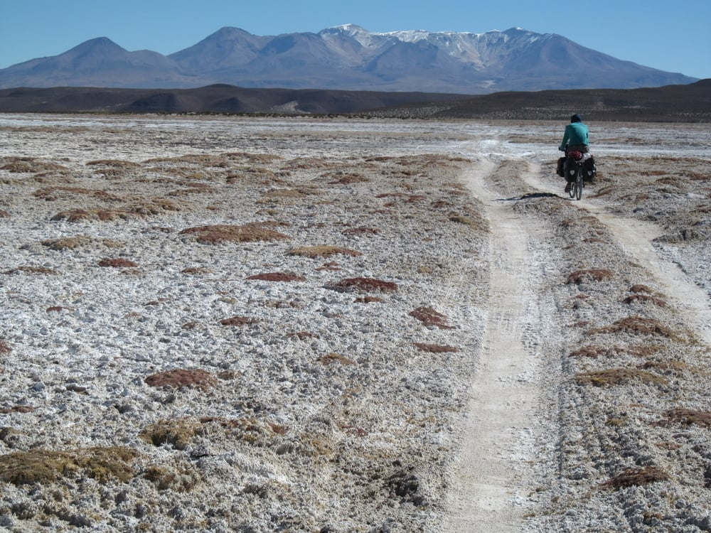 The jeep track we found and followed in something that was not quite a salar.