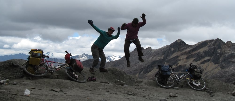 We celebrate at our highest pass yet, 4,890 m (just over 16,000 ft).