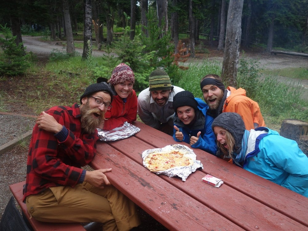 "We ""survive"" an extra rest day to wait out bad weather thanks to generous neighbors and homemade pizza from the Cut Bank rangers!"