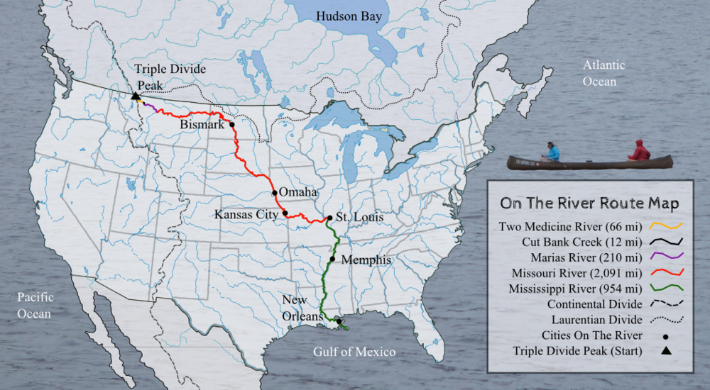 On The River's route map from Triple Divide Peak to the Gulf of Mexico.