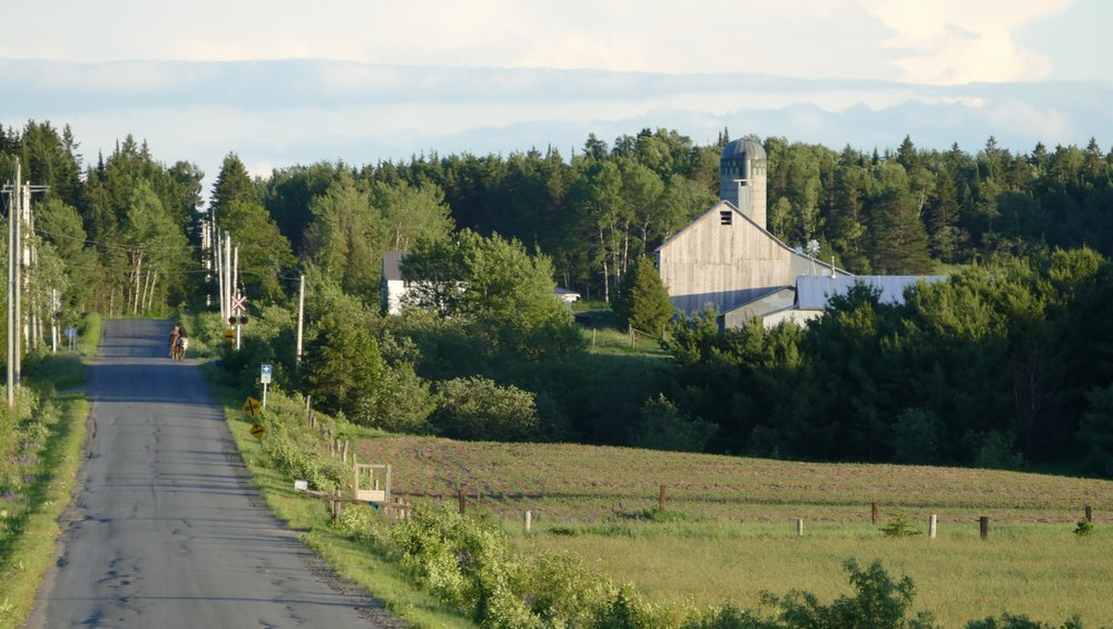 On back roads, the Canadian country side was prime biking.