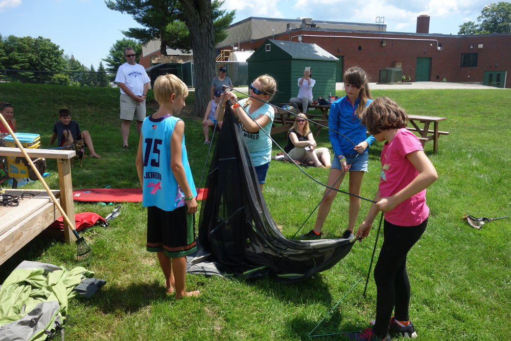 I enjoyed touring a school's pollinator garden and they enjoyed figuring out how to set up my tent.