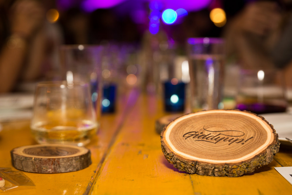 Laser engraved wooden coaster log slice branch