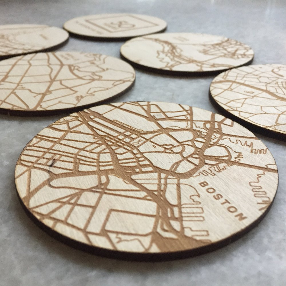 Laser engraved wooden coaster map
