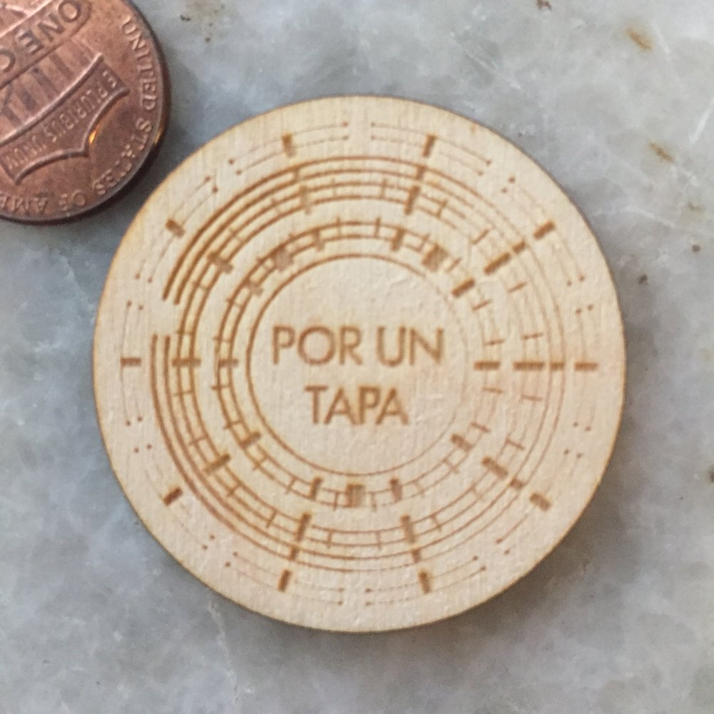 Wooden Nickel laser engraved token