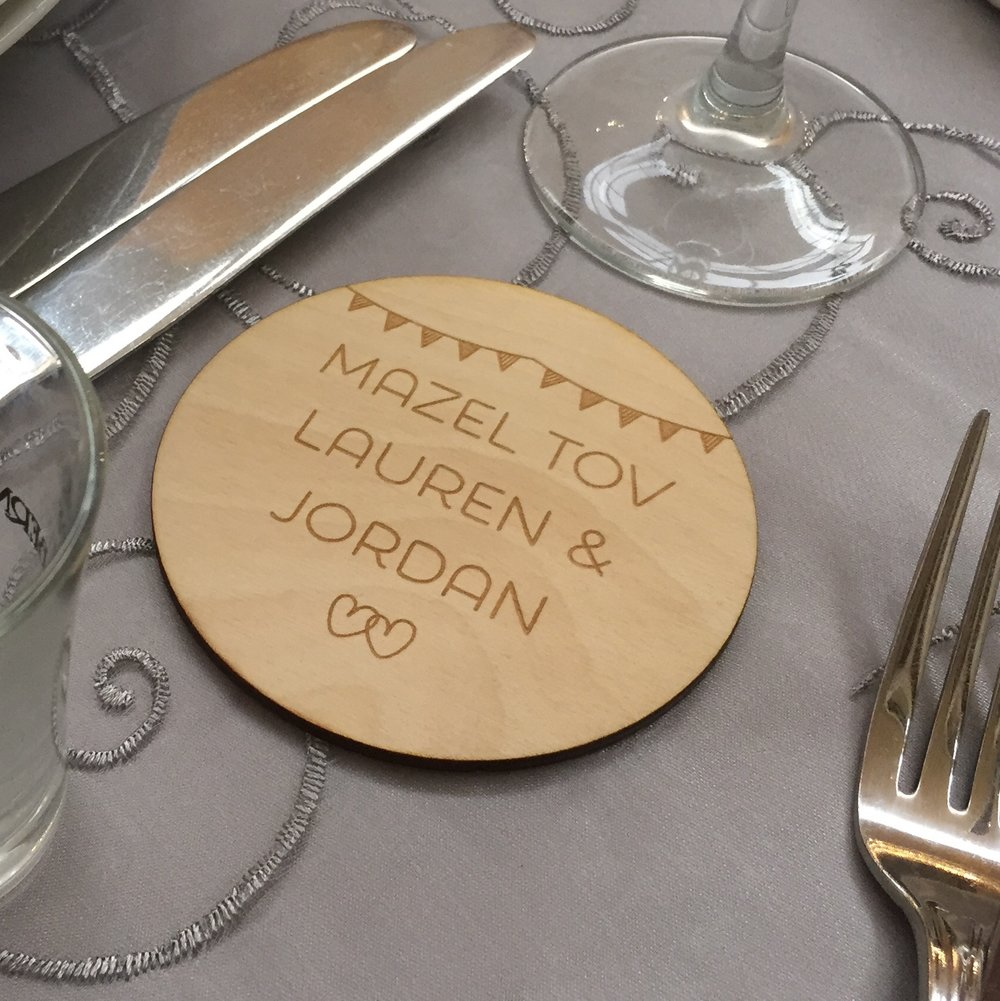 Laser engraved wooden coaster wedding