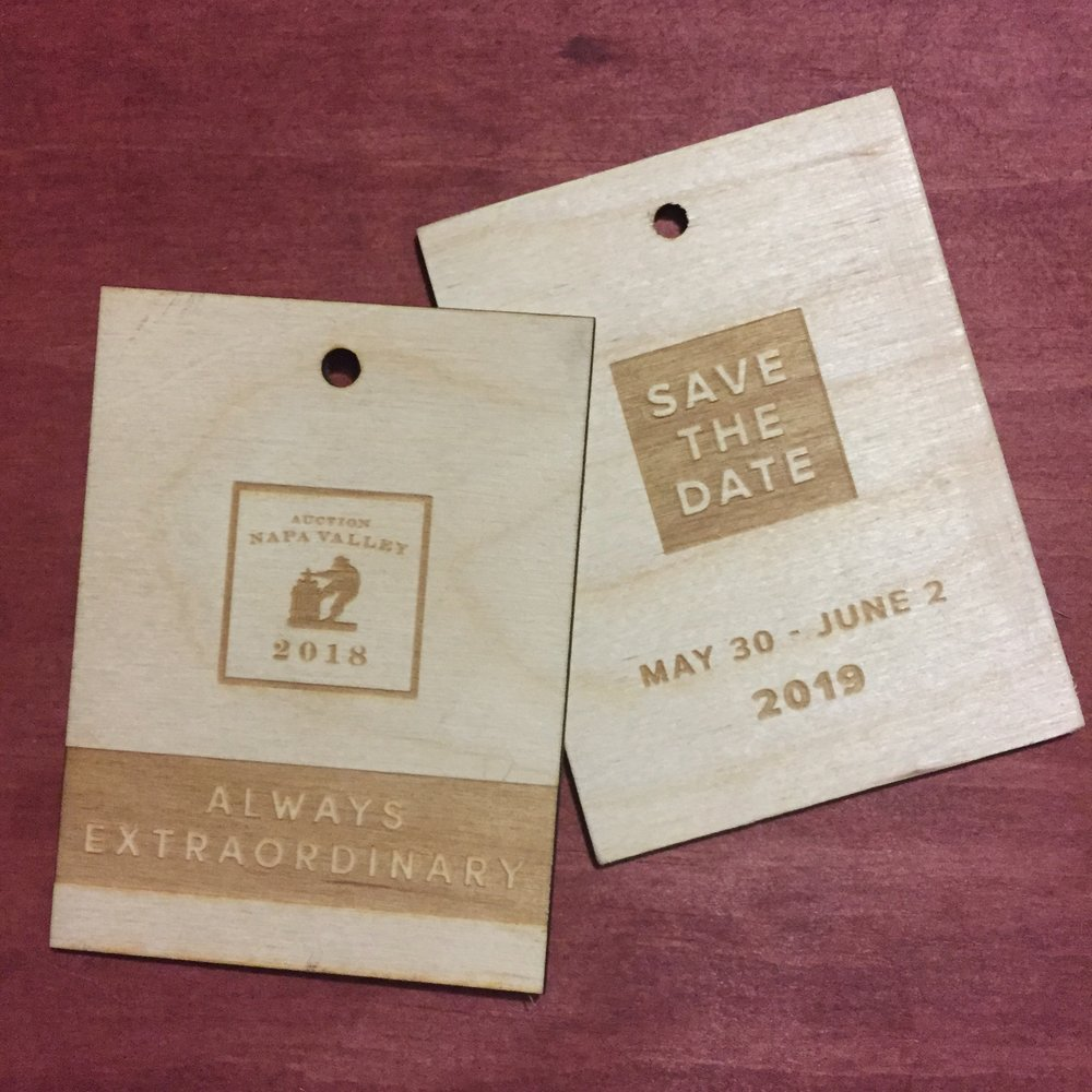 hang tag save the date invite laser engraved wooden