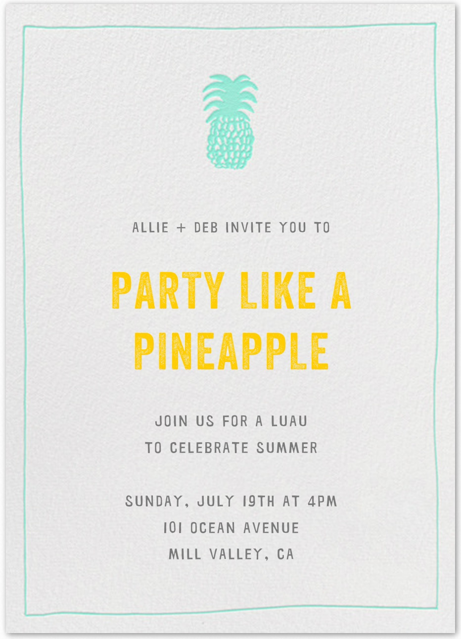 Pineapple Card for the next Luau | Paperless Post via Table + Dine