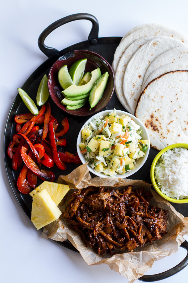 Hawaiian Hula Pork Fajitas with Pineapple Slaw + Coconut Rice | Luau Recipes