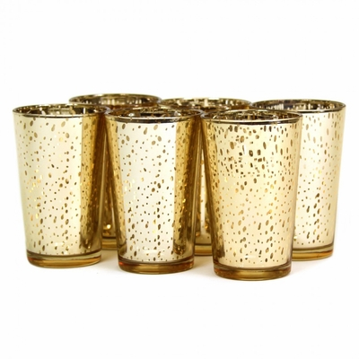 A Farm-to-Table Thanksgiving | Gold Antiqued Votive Holders at Table + Dine