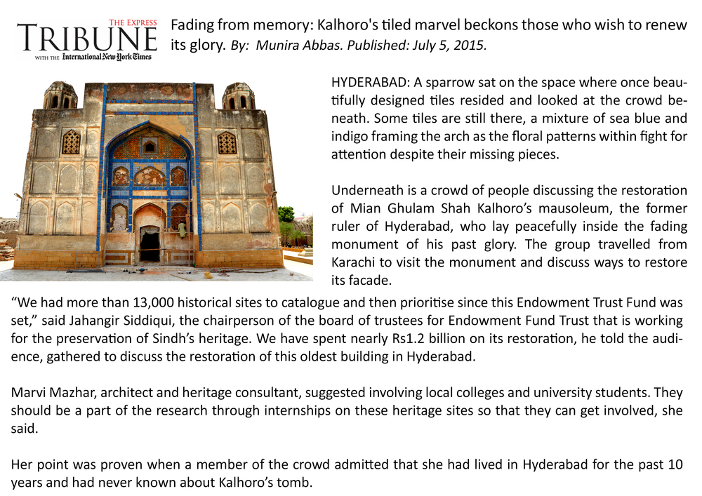 Endowment Fund Trust - Site Visit to evaluate ongoing conservation work at Mausoleum of Ghulam Shah Kalhoro.