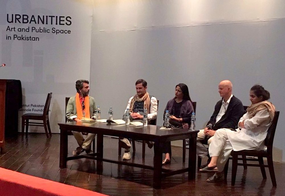 In conversation with moderator Attiq Uddin Ahmed at Alhamra Art Council, Lahore: City in Context |  Contested Spaces: Conflict, Violence, Reconciliation . Speakers: Miro Craemer, Marvi Mazhar, Adeela Sulaiman and Kai Vockler