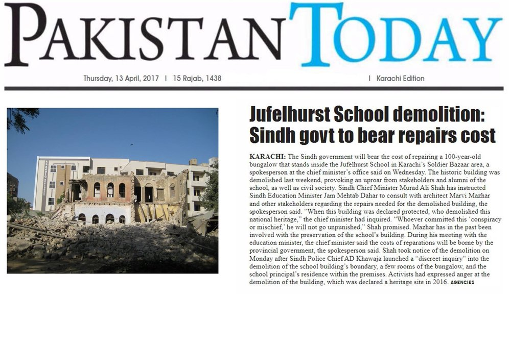 Jufelhurst High School  Rebuilding Plan Order from Sindh Government