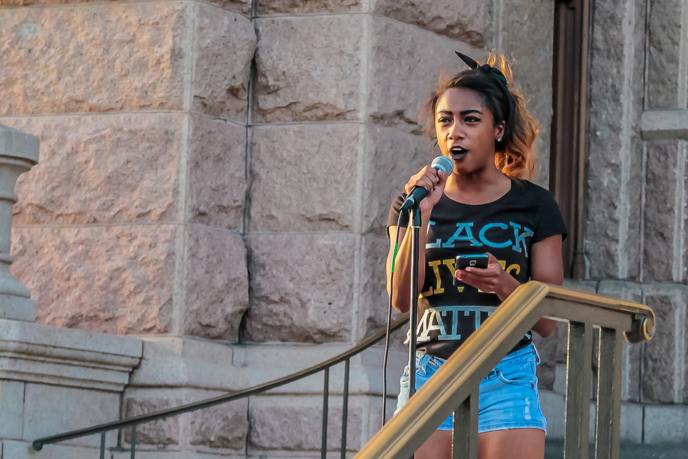 Speaker at Black Lives Matter Rally, Austin, Texas