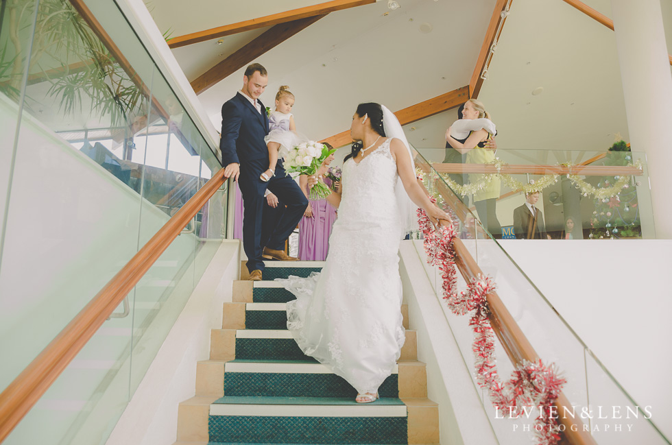 bride and groom stairs wedding ceremony {New Zealand wedding photographer}