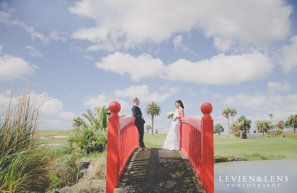bride groom red bridge Formosa Golf Resort {Auckland wedding-engagement-couples photographer}