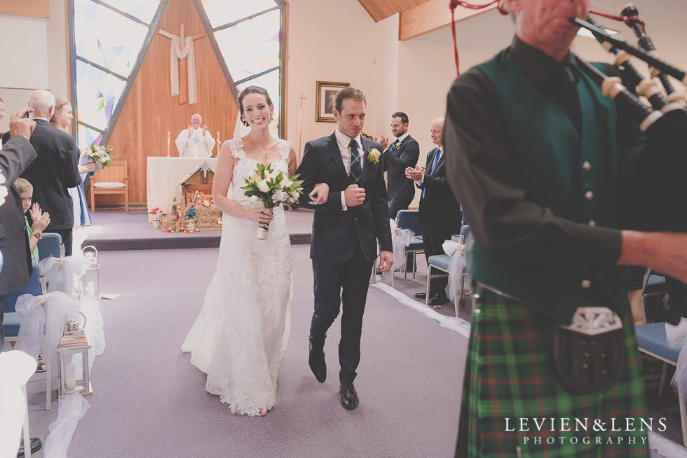 bride and groom ceremony St Anthony's Catholic Church Waiuku {Auckland wedding-couples-engagement photographer