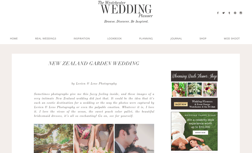 New Zealand garden wedding featured publication {Auckland wedding-couples-engagement photographer}