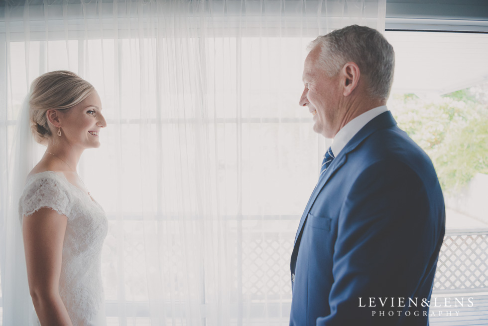 bride with father bride getting ready Kaurilands Estate {Auckland wedding photographer}