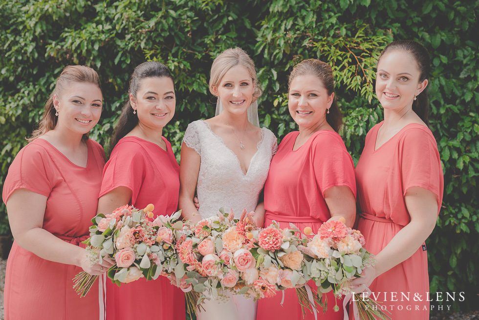 bride with bridesmaids Landscendt Tropical Garden {Auckland lifestyle wedding photographer}