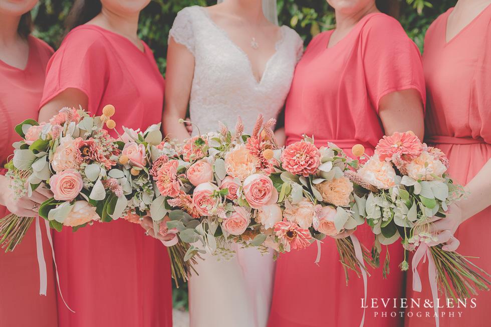 flowers bridal party Landscendt Tropical Garden {Auckland lifestyle wedding photographer}
