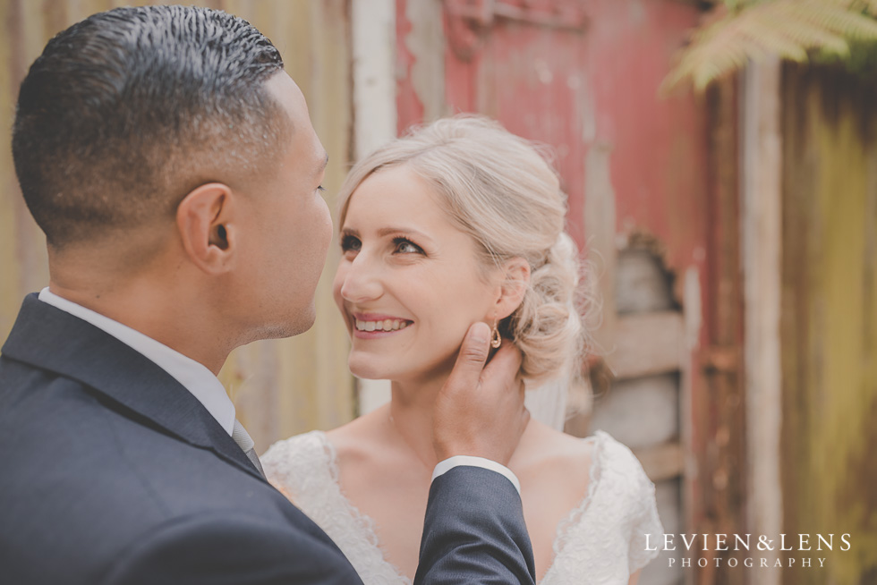 bride and groom intimate session Landscendt Tropical Garden {Auckland lifestyle wedding photographer} rustic doors