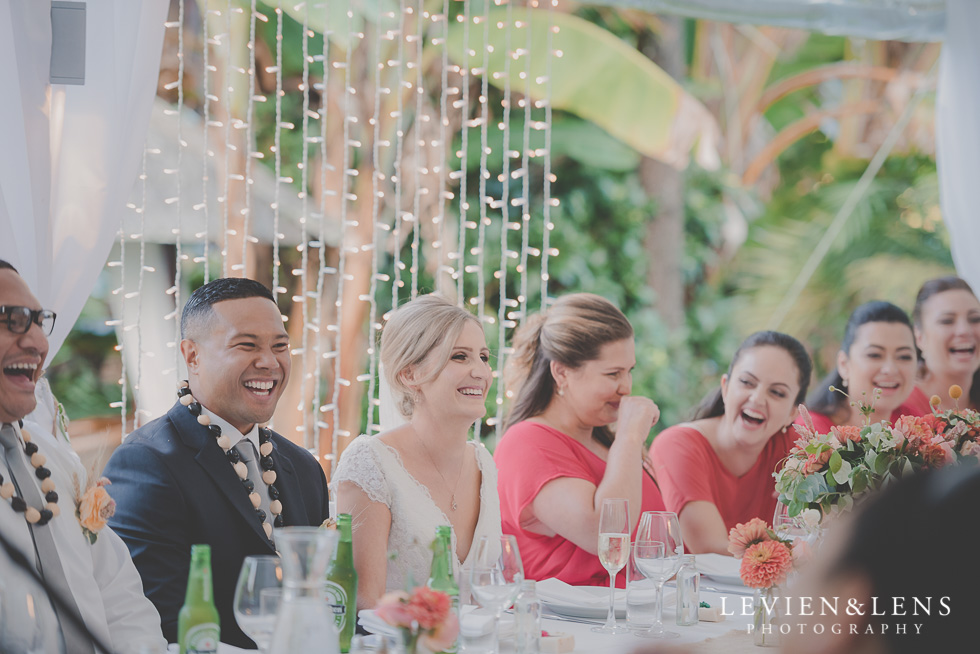 bridal party at reception Landscendt Tropical Garden {Auckland wedding photographer}