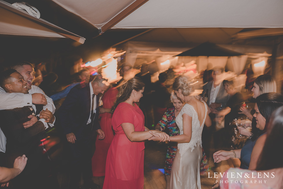 guests dancing Landscendt Tropical Garden reception {AUckland-Waikato-Bay of Plenty wedding photographer}