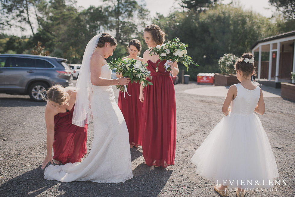 bride with bridesmaids before ceremony Brigham - Herald Island {Auckland lifestyle wedding photographer}