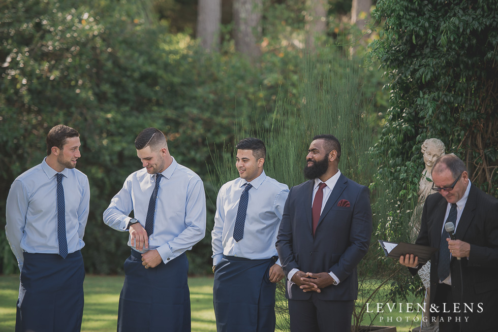 groom and groomsmen waiting ceremony Brigham - Herald Island {Auckland lifestyle wedding photographer}