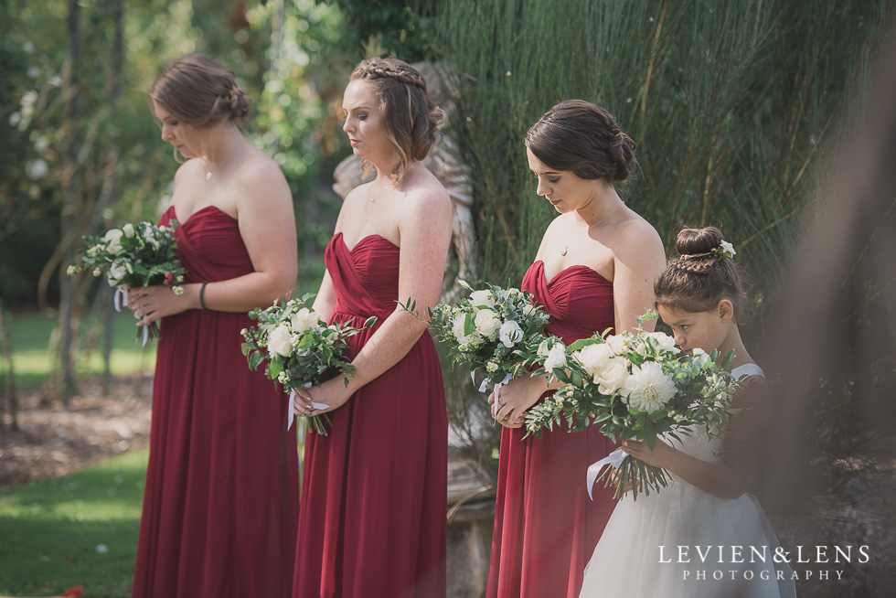 bridesmaids and flower girl ceremony Brigham - Herald Island {Auckland lifestyle wedding photographer}