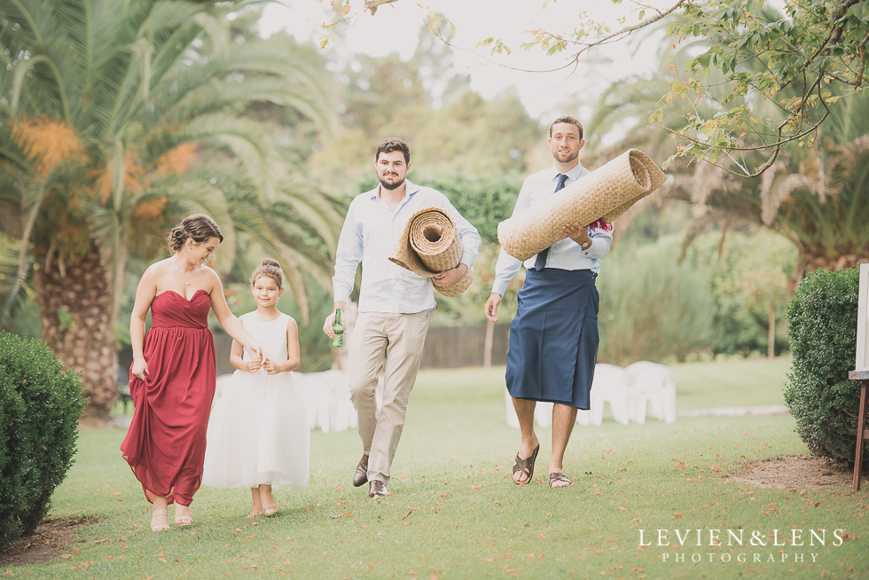 bridal party with traditional mats Brigham - Herald Island {Auckland lifestyle wedding photographer}