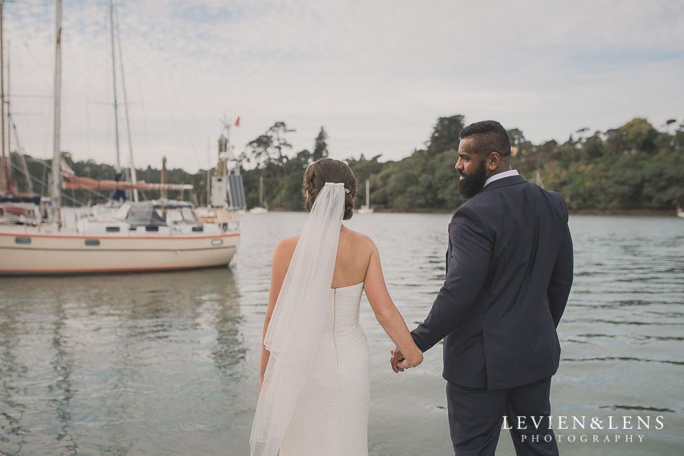 bride and groom near water Brigham - Herald Island {Auckland lifestyle wedding photographer}