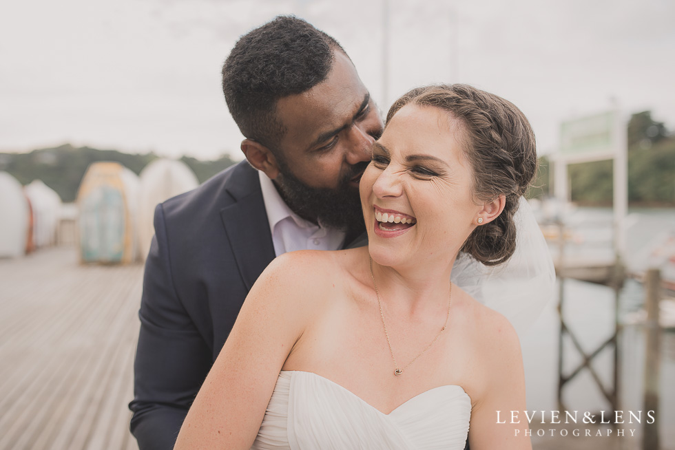 stunning couple laughing Brigham - Herald Island {Auckland lifestyle wedding photographer}
