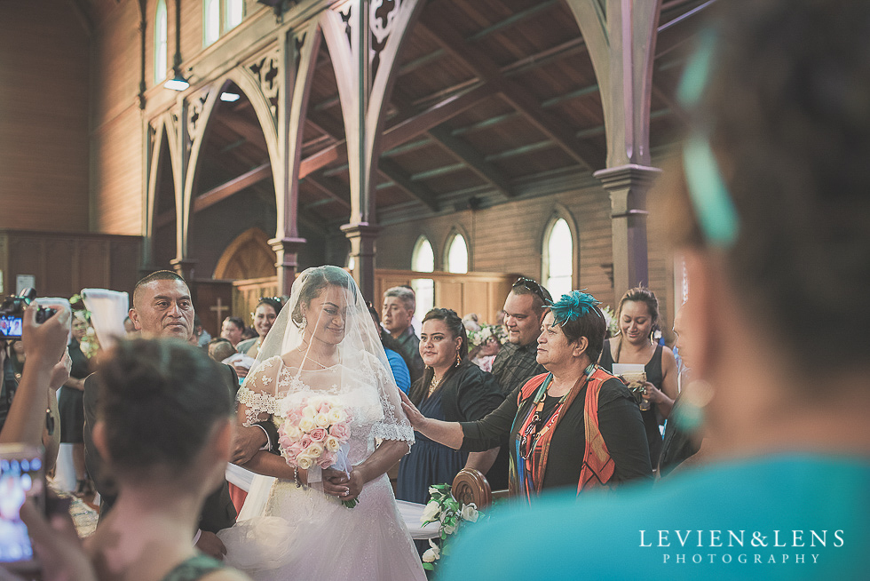 bride walking down aisle with dadChurch Of The Holy Sepulchre - Bastion Point {Auckland NZ lifestyle wedding-engagement photographer}