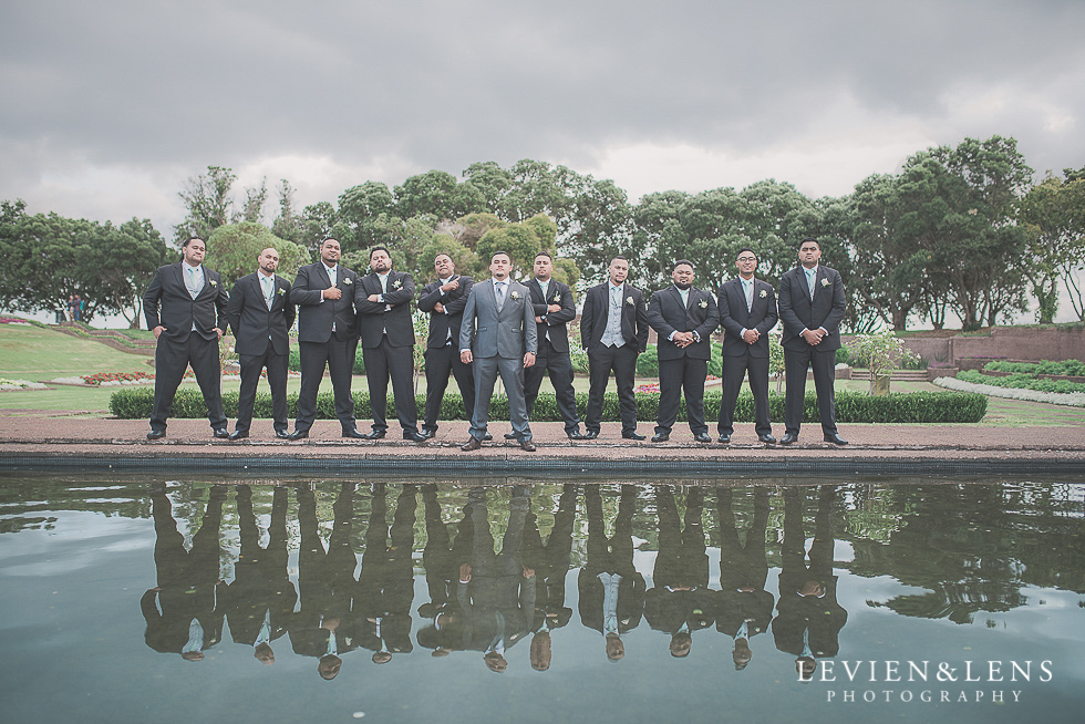 groomsmen reflection Church Of The Holy Sepulchre - Bastion Point {Auckland NZ lifestyle wedding-engagement photographer}