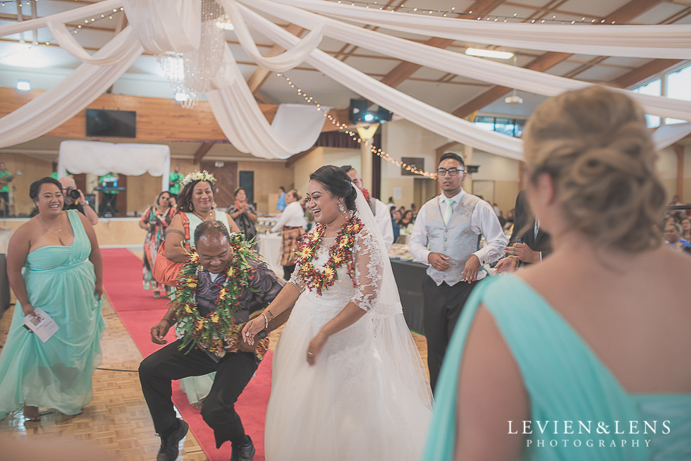 bride dancing with guests reception {Auckland NZ lifestyle wedding-engagement photographer} Malaeola community centre