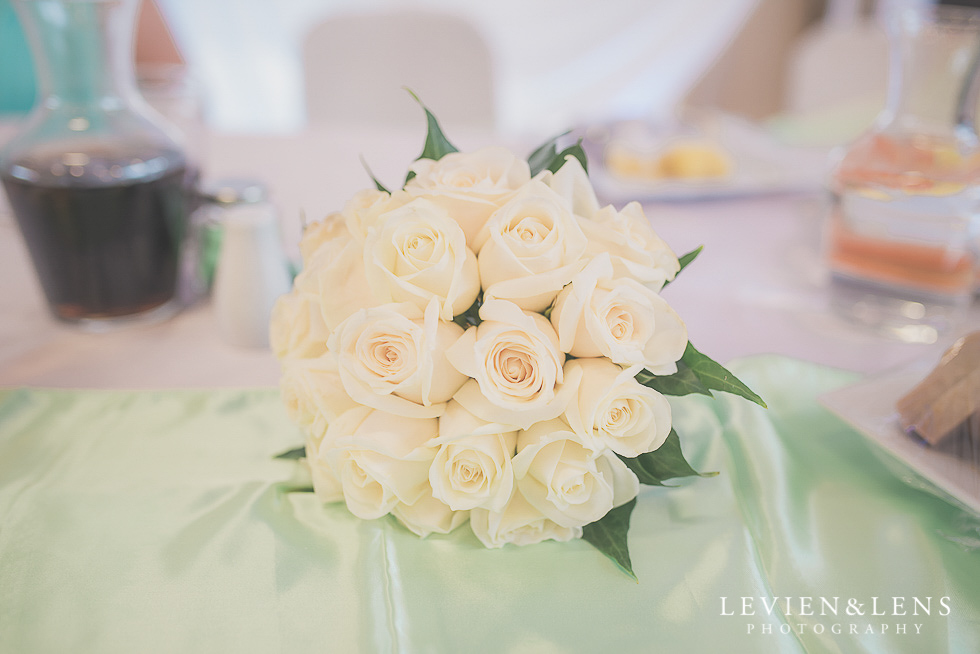 details flowers reception {Auckland NZ lifestyle wedding-engagement photographer} Malaeola community centre