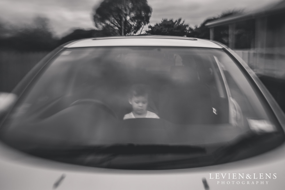 BW girl in car {New Zealand lifestyle photographer}