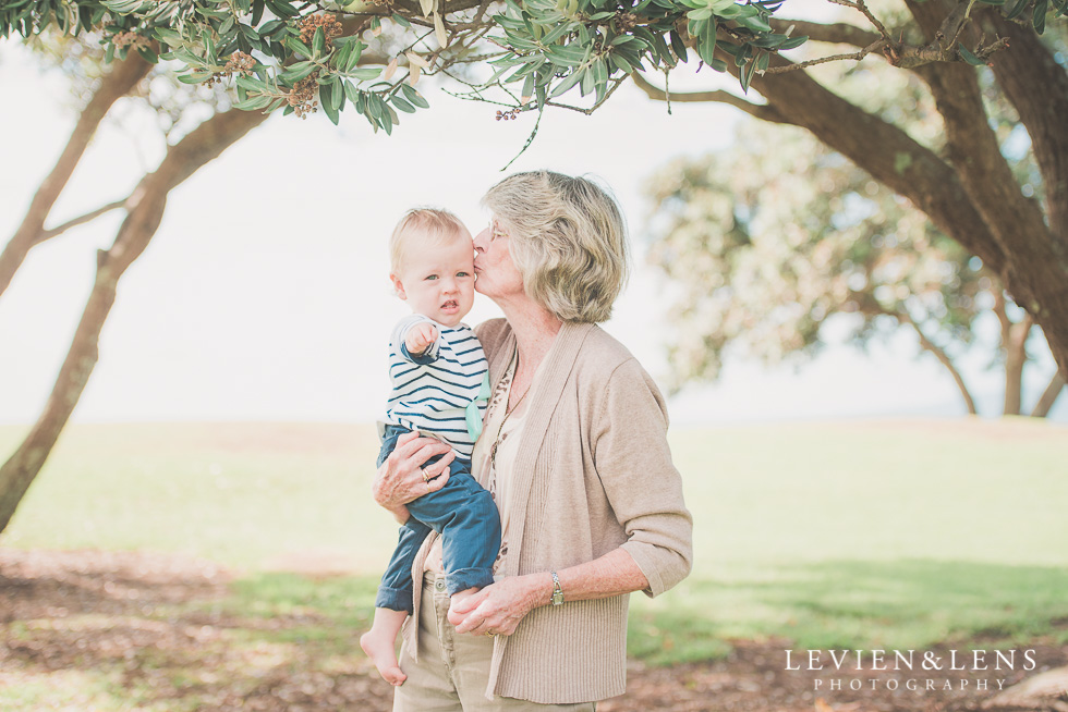 grandmother with baby boy Milford Beach family session {Auckland lifestyle photographer}