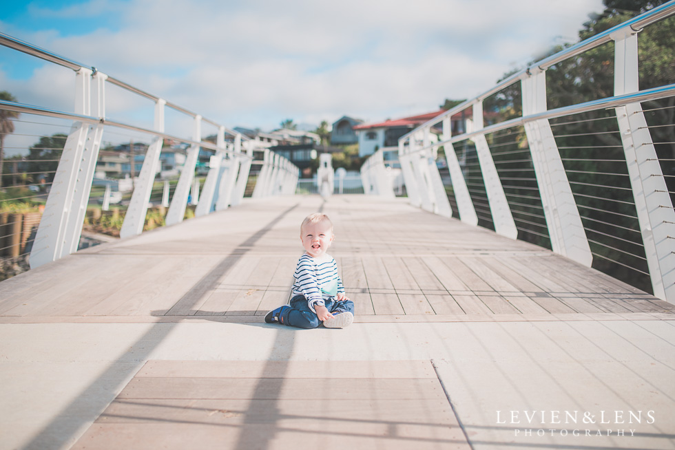 baby on bridge Milford Beach family session {Auckland lifestyle photographer}