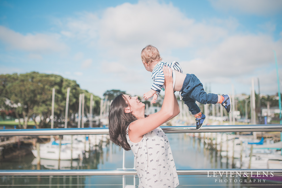 mother with baby on bridge Milford Beach family session {Auckland lifestyle photographer}