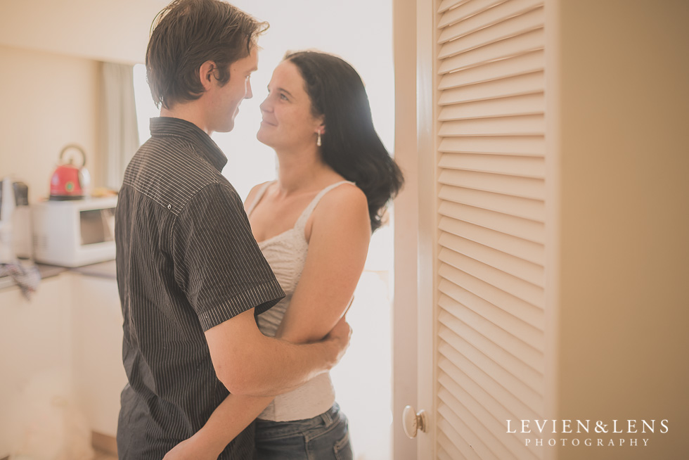 couple near pantry in-home lifestyle couples session {Auckland wedding-engagement photographer}